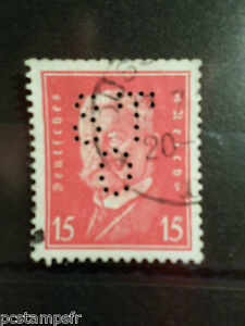ALLEMAGNE EMPIRE GERMANY 1928-32, timbre perforé 405, oblitéré, PERFIN STAMP AA