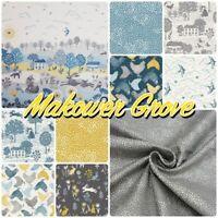 Makower GROVE Countryside Woodland Blue 100% Cotton Patchwork Craft Fabric