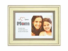I Love Mom Frame, 5x7 Horizontal Frame for 4x4 Photo with White Mat Table-Top