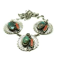 "Turquoise Coral Feathers Sterling Silver 925 Necklace 60g 20"" ZZ011"