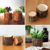 1X Wood Flower Pot Vase Small Pots Wooden Succulent Planters Home Garden US