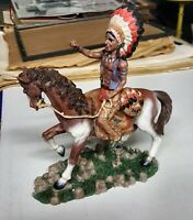 """Statue of Indian on a Horse Height 10.5"""" Width 8"""""""