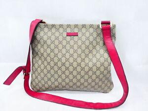 Auth Gucci GG Canvas Crossbody Shoulder Bag Beige/Pink PVC/Leather - AUC0070