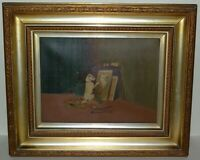 """Painting - """"Dog Painting A Cat"""" Painting On Canvas,  Framed . UnKnown Artist"""