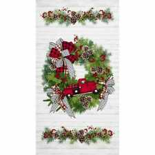 I'll Be Home For Christmas Fabric Panel Red Truck Wreath Quilt Shop Quality