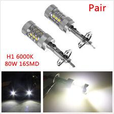 2x H1 6000K 80W LED 16-SMD Car Fog Driving DRL Light Bulbs Xenon White Lamp Bulb