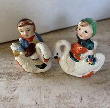 Vintage Mother Goose Little Boy Blue Mary Quite Contrary Salt Pepper Shaker Set