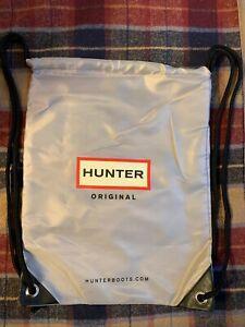 NEW! Hunter Boots Original Logo Bag   Silver Gray Black   Drawstring Backpack