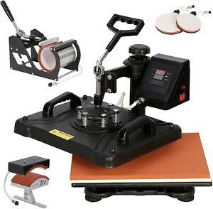 "8 in1 Heat Press Machine 360°Swing Away T-Shirt Hat Mug Printing Press 15x15"""