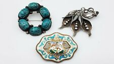 Brooch Lot of 3 Ts639 Vintage Sterling Silver Porcelain Enamel
