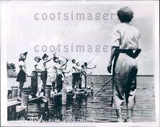 1952 Children Fishing on Old Dock Press Photo