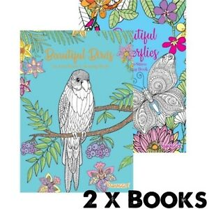 2 x ADULT ANTI-STRESS Colouring Books - BEAUTIFUL BUTTERFLIES & BIRDS ALL AGES