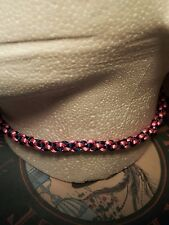 BLUE & PINK  KUMIHIMO CHOKER/NECKLACE  SILVER COLOUR CLASP