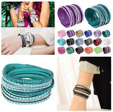 Fashion Punk Leather Wrap Bracelet Bangle Wristband Cuff Rhinestone Crystal Gift