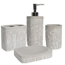 Avalon Concrete Bath Accessory Collection 4 Piece Bathroom Set