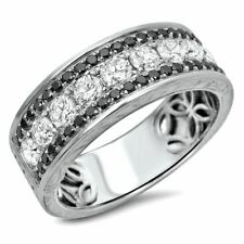 2.52 Ct Black & White Diamond 10k White Gold Over Mens Wedding Anniversary Band