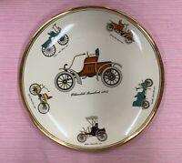 "Homer Laughlin Rhythm Collectible 10"" Plate Antique Automobiles 22K Gold Trim"