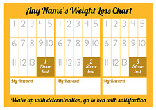 Personalised Weight Loss Chart - 3 stone - Laminated with sheet of stickers