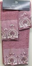 3 Piece Embroidered Crown Bath, Hand and Fingertip Towel Set, Rose