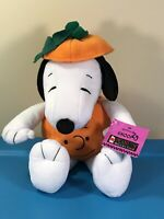 "Hallmark Peanuts 15"" Plush Halloween Snoopy Pumpkin w Charlie Brown Face"