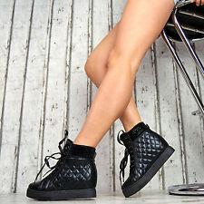 GEFÜTTERT Designer Wedges Sport Sneaker Keilabsatz Damen Schuhe Gesteppt Glitzer