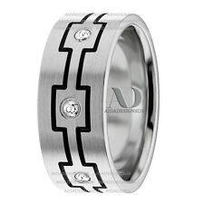 0.11Ctw Solid 10K White Gold & Black Accent Diamond Wedding Band Ring 8mm