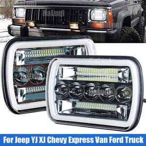 5x7'' 7x6''  Rectangle LED Headlight Hi-Lo Beam DRL For Jeep Cherokee XJ Wrangle