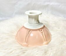 Vintage Milk Glass Candle Holder Taper Anchor Hocking Pink & White Oyster MCM