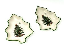 """Spode Christmas Tree Set of 2 Tree Shaped Dishes 6"""" Candy Bowl Collectible $50"""