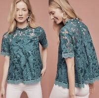 Anthropologie HD In Paris Lace Meadows Blouse Top Peacock Green High Neck Size 4
