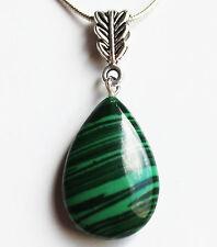 Semi-Precious Teardrop Stone Pendant on Silver Chain - Green Malachite