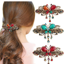 Ladies Womens Girls Crystal Butterfly Barrette Hair Clip Fashion Accessories US