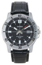 Casio Men's Analog Quartz Stainless Steel/Black Leather Watch MTPVD01L-1EV