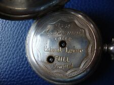 L. REYMOND POCKET WATCH #31591 LOCLE PATENT LEVER 3 FINGERS NO HANDS FINE SILVER