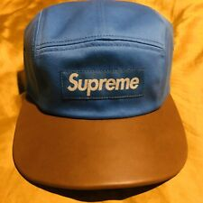 Supreme New York Leather Bill Camp Cap Light Blue Tan