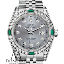 Ladies Rolex Datejust 36mm Stainless Steel Emerald Diamond Watch With A Track