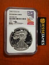 1996 P PROOF SILVER EAGLE NGC PF70 ULTRA CAMEO JOHN MERCANTI SIGNED FLAG LABEL!