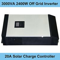 3000VA 2400W Hybrid Inverter 24V DC 220V AC With Solar Charge Controller MPPT