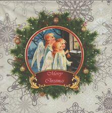 2 Serviettes en papier Anges de Noël Decoupage Paper Napkins Angels singing