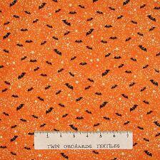 "Halloween Fabric - Toil & Trouble Bat Toss Orange - Henry Glass 25"""