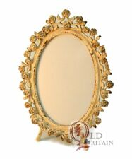 Cream Oval Picture Frame with Floral Design - Metal
