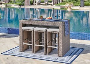 Bravich Modern Rattan Garden Table with Bar Stools, 6 Seater Patio Furniture Set