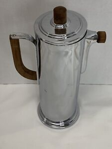 "Vintage Manning-Bowman Chrome & Wood Cocktail Shaker / Pitcher 12"" *Beautiful!*"