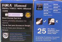 Fora Diamant 25 Bandes Blood Glucose Test Bandes pour Self Testing