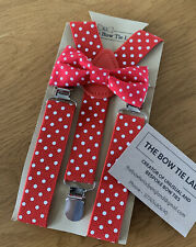Boys Bow Tie And Coordinating Braces - Red - Age 2-5yrs Approx - STOCK CLEARANCE