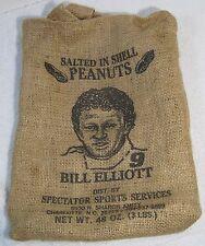 Bill Elliott #9 PEANUT BURLAP BAG - Rare Item - Good Condition