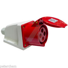 16 amp 4 pin weatherproof socket IP44 industrial connector 415V 3 phase red 16A