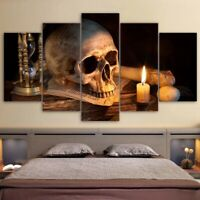 Haloween Scary Skull Burning Candle 5 pcs Painting Canvas Wall Art Home Decor