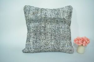 Turkish Handmade Kilim Pillow Case Home Decor White -  Old Knotted Fine Pillow