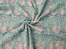 Indian 100% Cotton 2.5 Yard Hand Block Print Fabric Multi Use Crafts Fabric MS9
